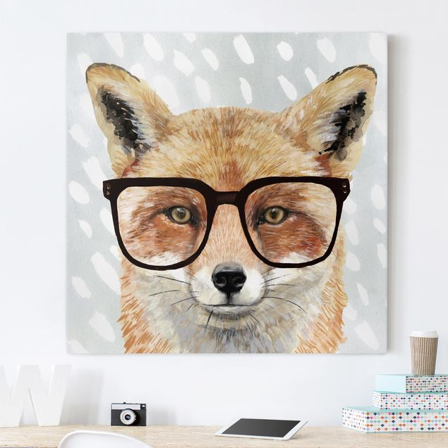 Leinwandbild - Bebrillte Tiere - Fuchs - Quadrat 1:1