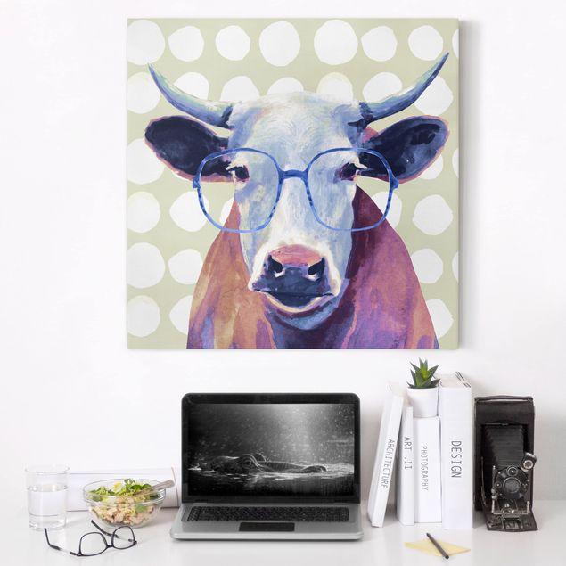 Leinwandbild - Bebrillte Tiere - Kuh - Quadrat 1:1