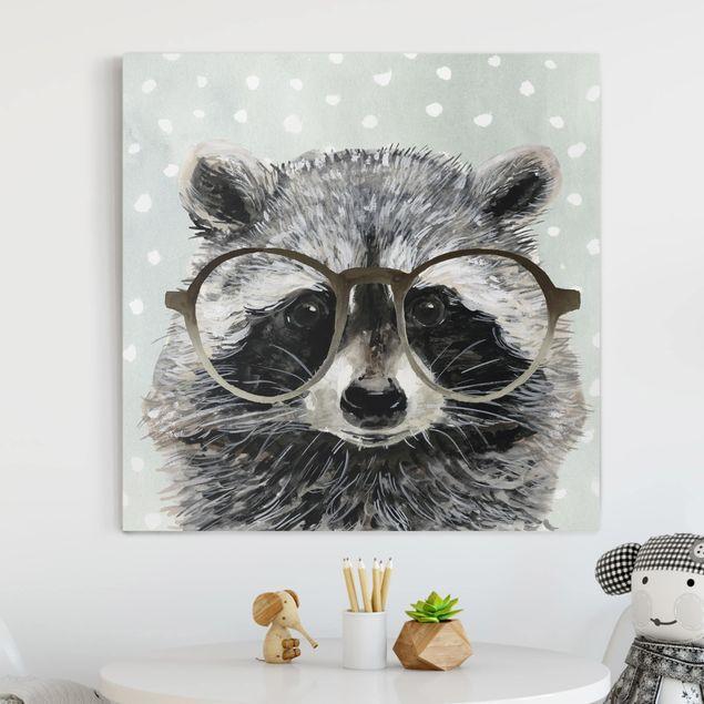 Leinwandbild - Bebrillte Tiere - Waschbär - Quadrat 1:1