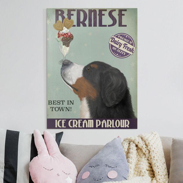 Leinwandbild - Berner Sennenhund mit Eis - Hochformat 4:3