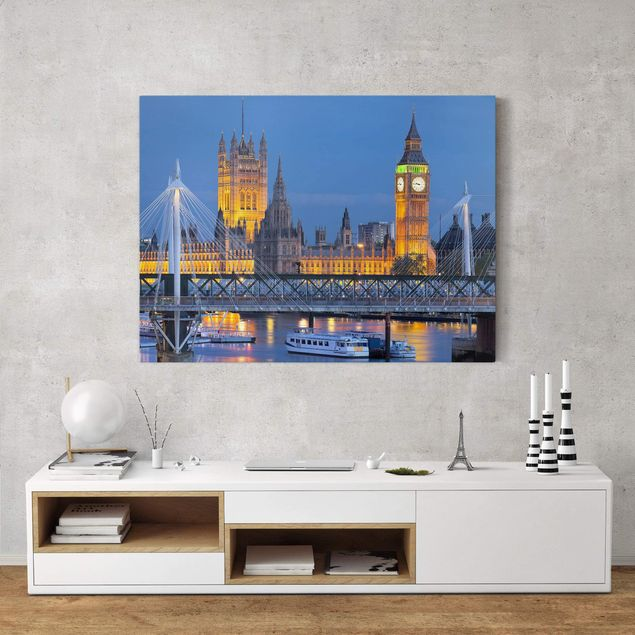 Leinwandbild - Big Ben und Westminster Palace in London bei Nacht - Quadrat 1:1