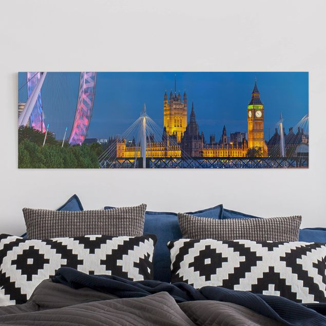 Leinwandbild - Big Ben und Westminster Palace in London bei Nacht - Panorama Quer