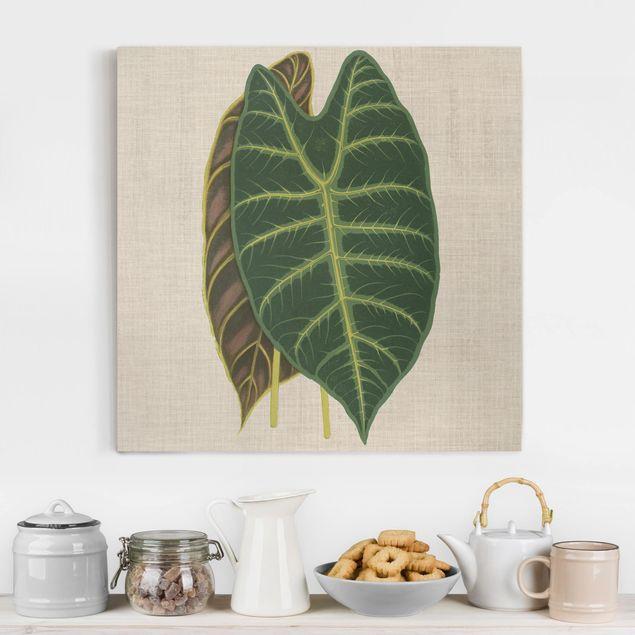 Leinwandbild - Blätter auf Leinen I - Quadrat 1:1