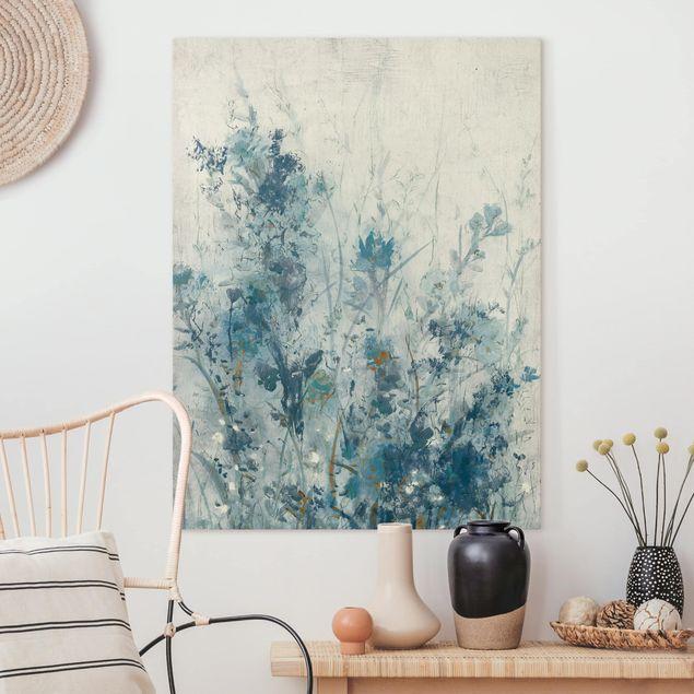 Leinwandbild - Blaue Frühlingswiese I - Hochformat 4:3