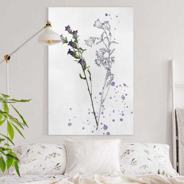 Leinwandbild - Botanisches Aquarell - Glockenblume - Hochformat 3:2