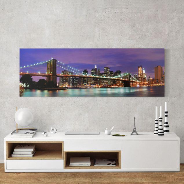 Leinwandbild - Brooklyn Bridge in New York City - Panorama Quer