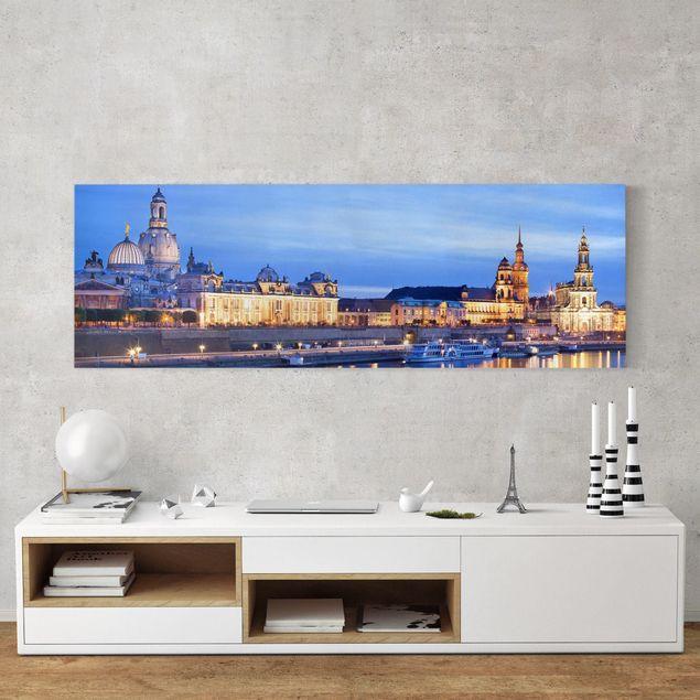 Leinwandbild - Canaletto-Blick bei Nacht - Panorama Quer