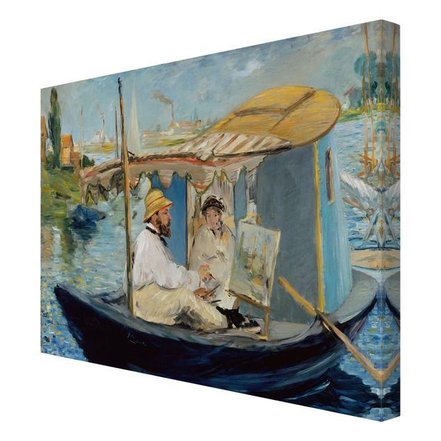 Leinwandbild - Edouard Manet - Die Barke (Claude Monet in seinem schwimmenden Atelier) - Kunstdruck Quer 4:3