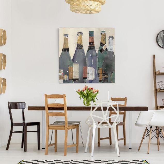 Leinwandbild - Entkorkt - Champagner - Quadrat 1:1