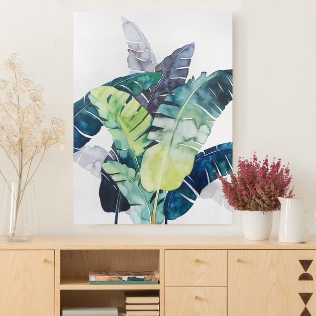 Leinwandbild - Exotisches Blattwerk - Banane - Hochformat 4:3