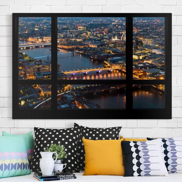 Leinwandbild - Fensterblick auf Londons Skyline mit Brücken - Quer 3:2