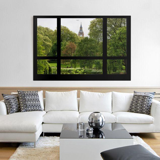 Leinwandbild - Fensterblick über St. James Park auf Big Ben - Quer 3:2