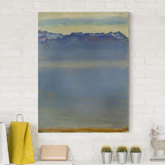 Leinwandbild - Ferdinand Hodler - Genfer See mit Savoyer Alpen - Hoch 3:4
