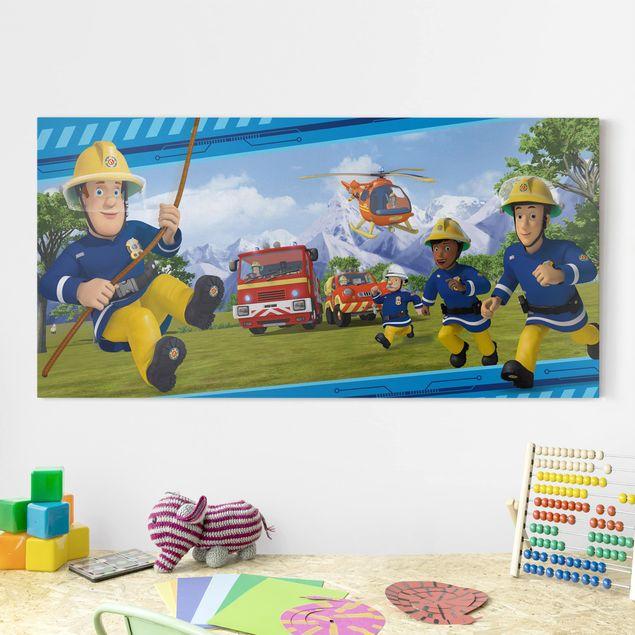 Leinwandbild - Feuerwehrmann Sam - Immer in Aktion - Querformat 2:1