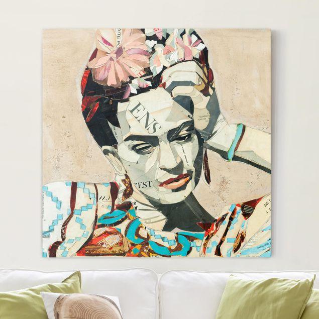 Leinwandbild - Frida Kahlo - Collage No.1 - Quadrat 1:1