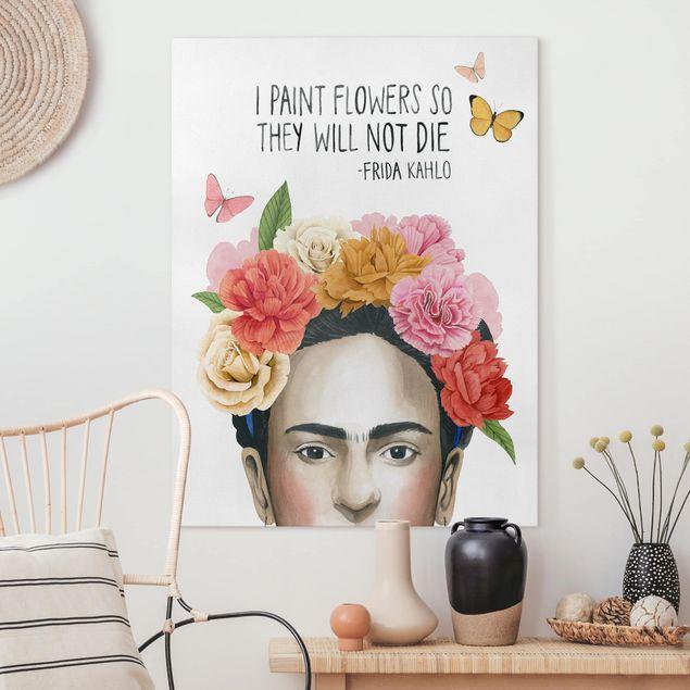 Leinwandbild - Fridas Gedanken - Blumen - Hochformat 4:3