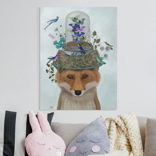 Leinwandbild - Fuchs mit Schmetterlingshut - Hochformat 4:3