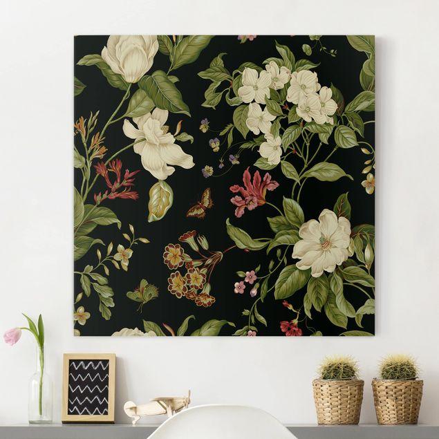 Leinwandbild - Gartenblumen auf Schwarz II - Quadrat 1:1