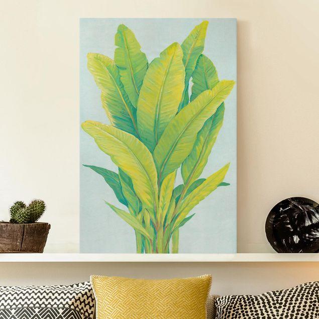 Leinwandbild - Gelbgrüne Bananenblätter - Hochformat 3:2