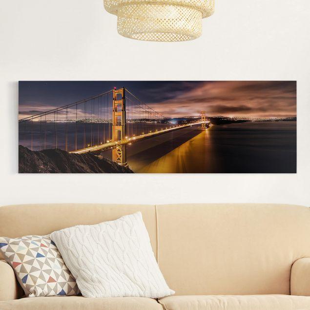 Leinwandbild - Golden Gate to Stars - Panorama Quer