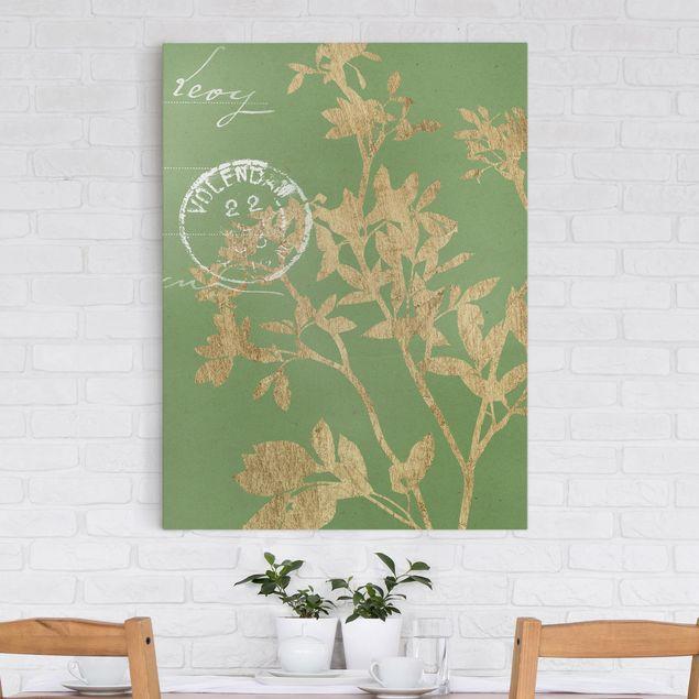 Leinwandbild - Goldene Blätter auf Lind II - Hochformat 4:3