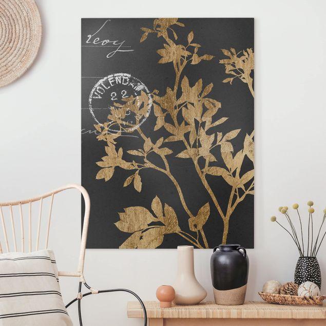 Leinwandbild - Goldene Blätter auf Mokka II - Hochformat 4:3