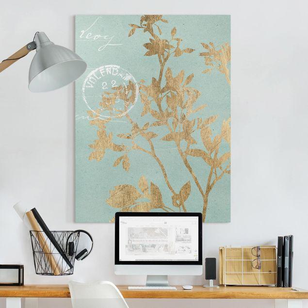 Leinwandbild - Goldene Blätter auf Turquoise II - Hochformat 4:3