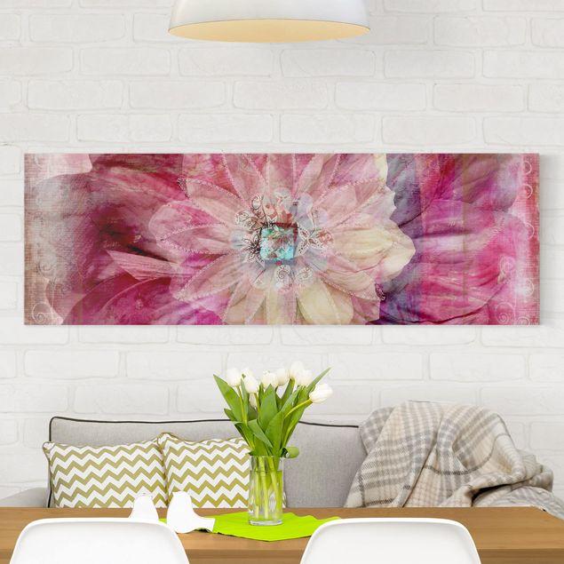 Leinwandbild - Grunge Flower - Panorama Quer