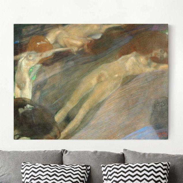 Leinwandbild Gustav Klimt - Kunstdruck Bewegtes Wasser - Quer 4:3 -Jugendstil