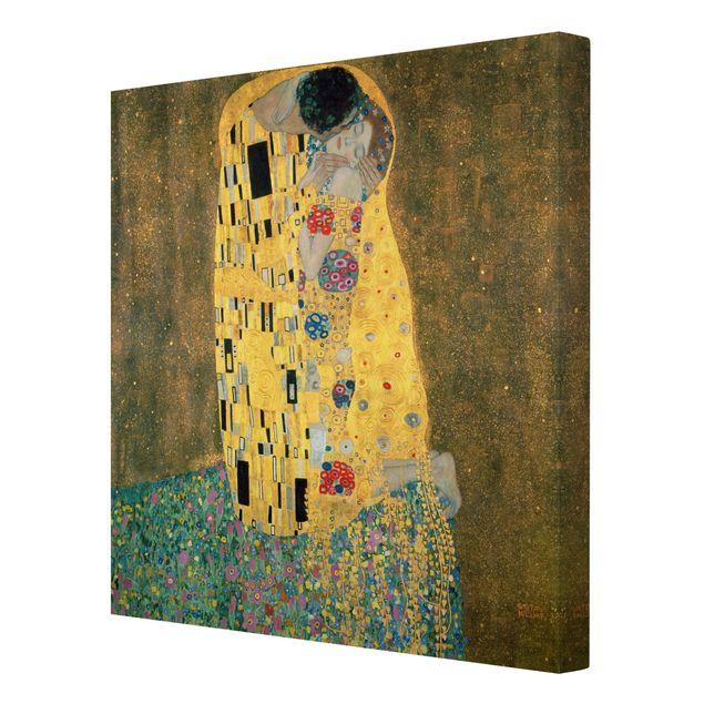 Leinwandbild Gustav Klimt - Kunstdruck Der Kuss - Quadrat 1:1 -Jugendstil