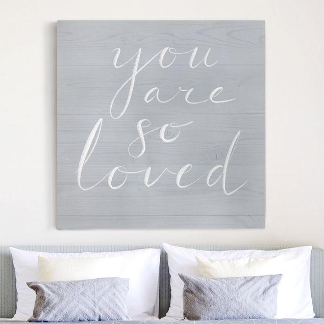 Leinwandbild - Holzwand grau - Loved - Quadrat 1:1