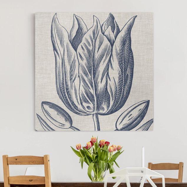 Leinwandbild - Indigo Blüte auf Leinen II - Quadrat 1:1