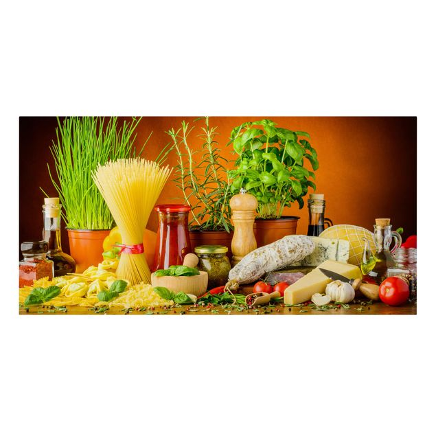 Leinwandbild - Italienische Küche - Querformat 2:1