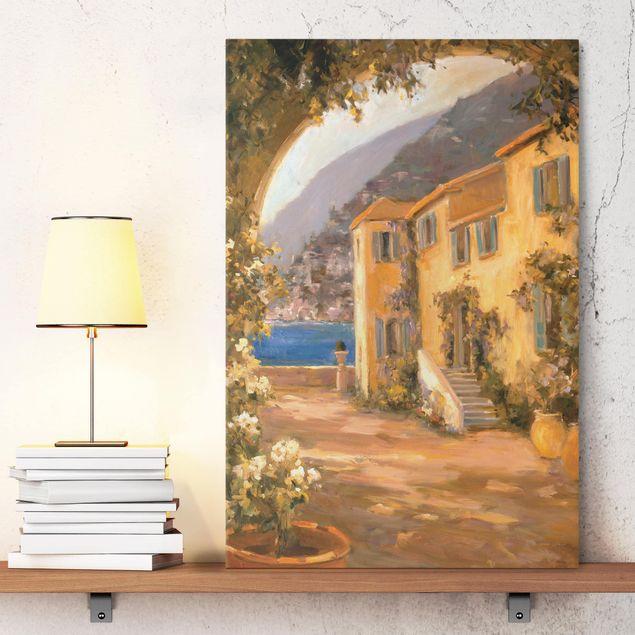 Leinwandbild - Italienische Landschaft - Blumenbogen - Hochformat 3:2