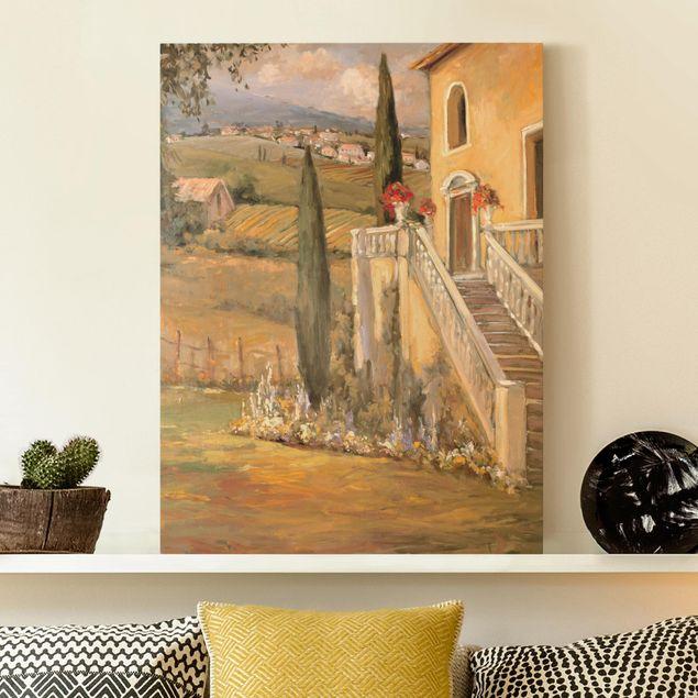Leinwandbild - Italienische Landschaft - Haustreppe - Hochformat 4:3