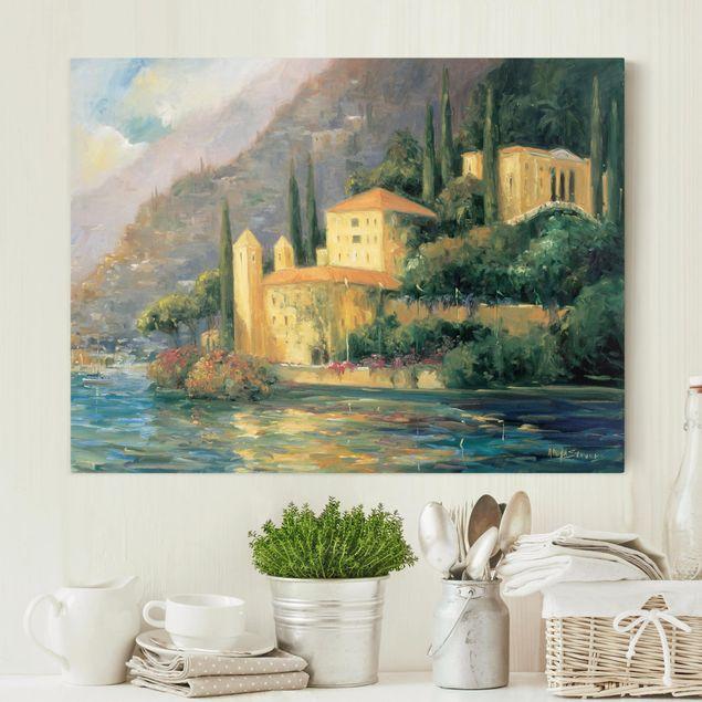 Leinwandbild - Italienische Landschaft - Landhaus - Querformat 3:4