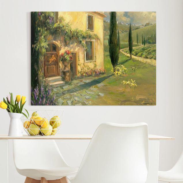 Leinwandbild - Italienische Landschaft - Zypresse - Querformat 3:4