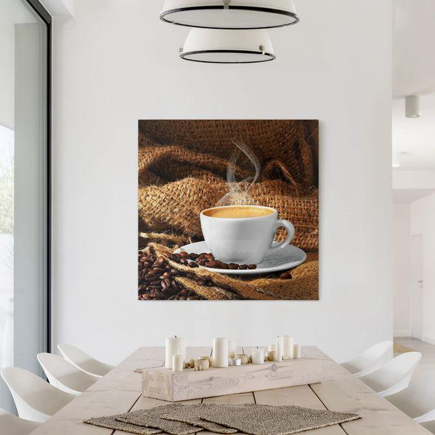 Leinwandbild - Kaffee am Morgen - Quadrat 1:1