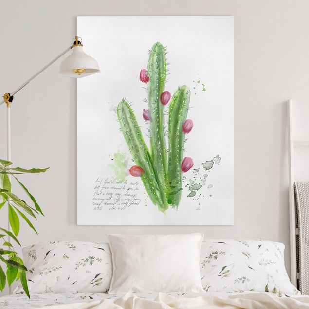 Leinwandbild - Kaktus mit Bibellvers II - Hochformat 4:3