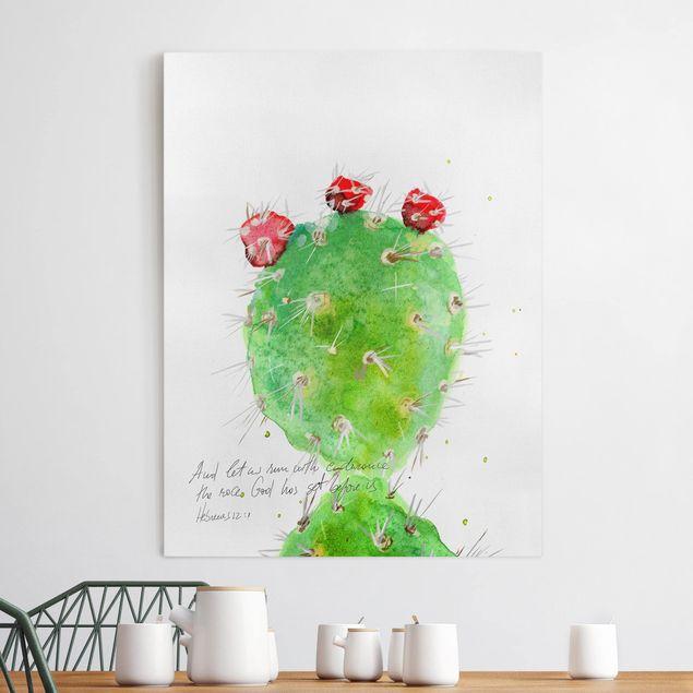 Leinwandbild - Kaktus mit Bibellvers IV - Hochformat 4:3