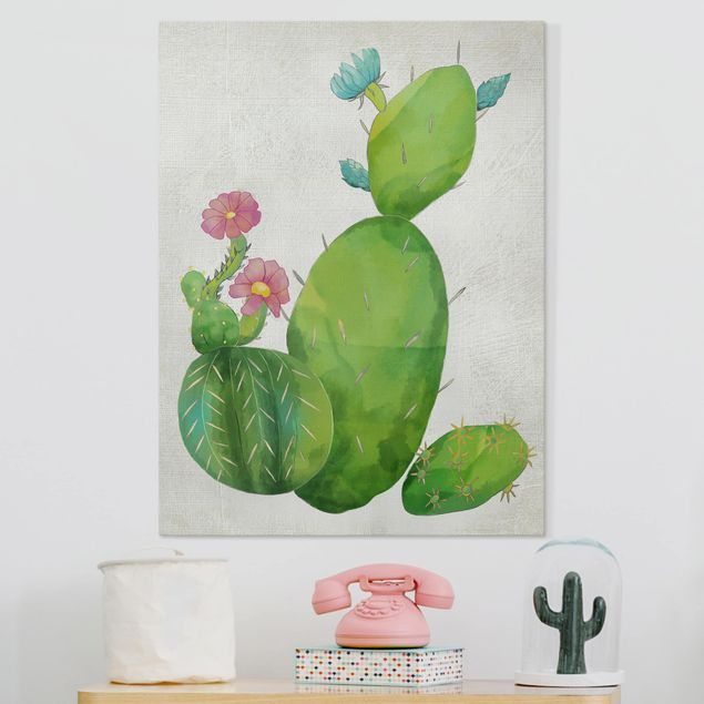Leinwandbild - Kaktusfamilie rosa türkis - Hochformat 4:3