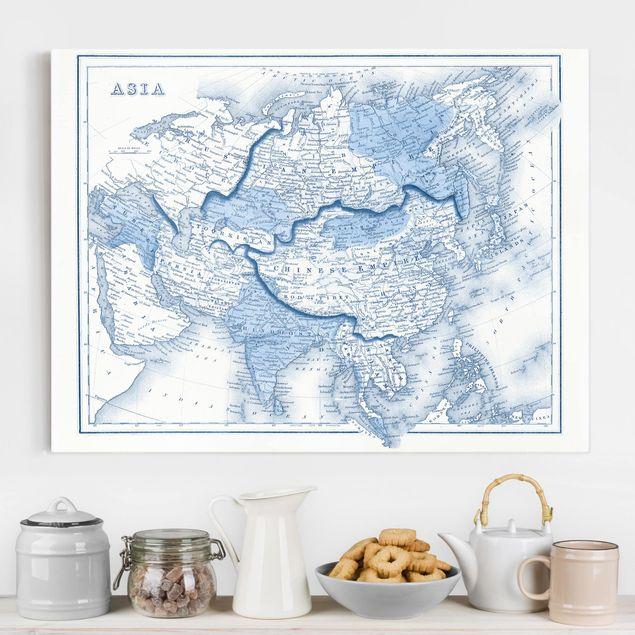 Leinwandbild - Karte in Blautönen - Asien - Querformat 3:4