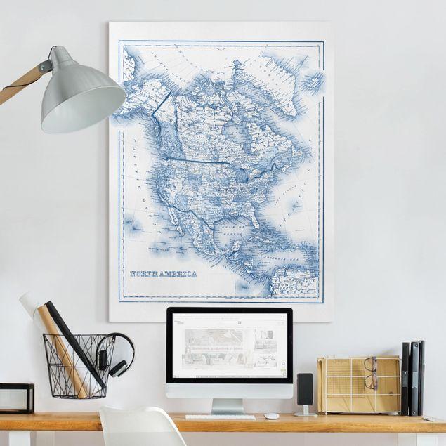 Leinwandbild - Karte in Blautönen - Nordamerika - Hochformat 4:3