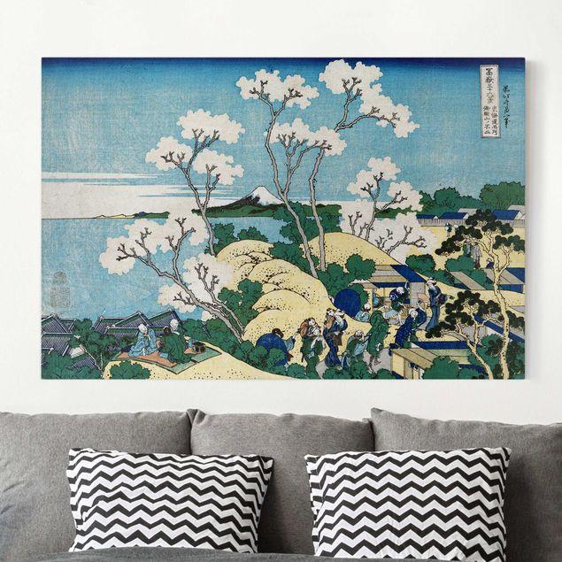 Leinwandbild - Katsushika Hokusai - Der Fuji von Gotenyama in Shinagawa von der Handesstraße Tokaido aus - Quer 3:2