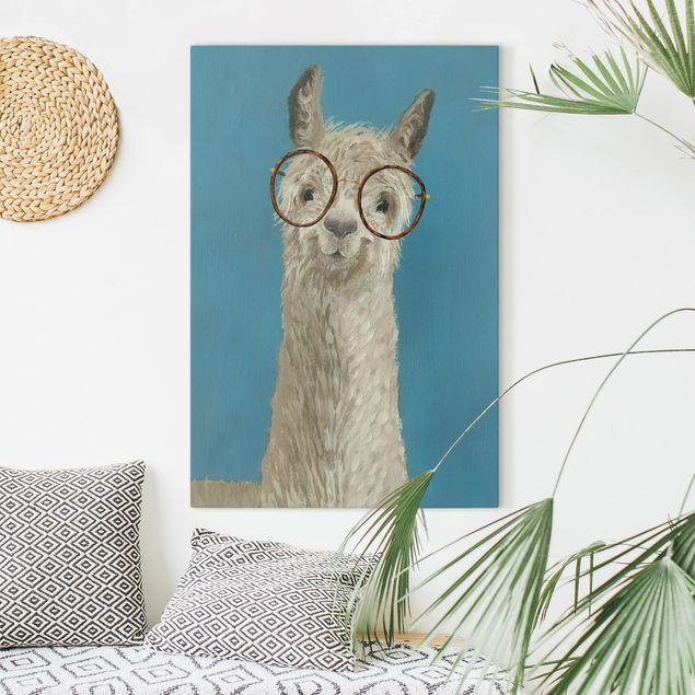 Leinwandbild - Lama mit Brille I - Hochformat 3:2