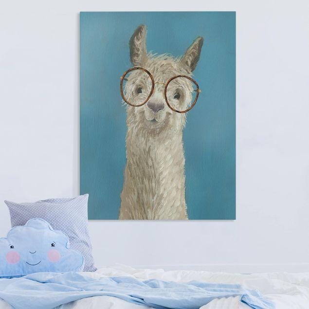 Leinwandbild - Lama mit Brille I - Hochformat 4:3