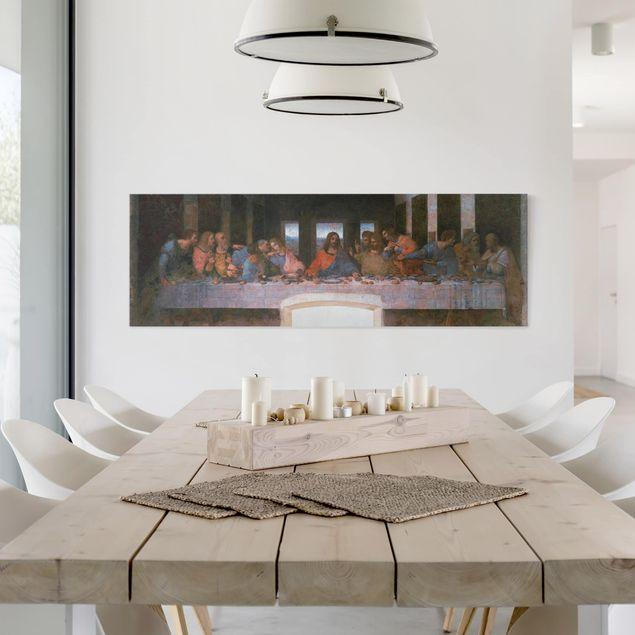 Leinwandbild - Leonardo da Vinci - Kunstdruck Das letzte Abendmahl - Panorama Quer