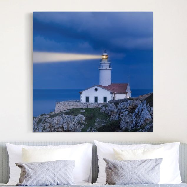 Leinwandbild - Lighthouse At Far De Capdepera - Quadrat 1:1