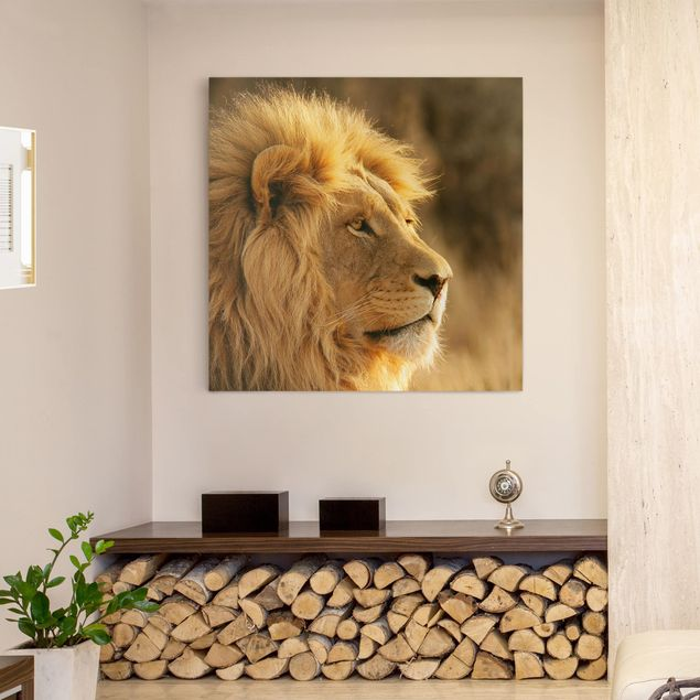 Leinwandbild - Löwenkönig - Quadrat 1:1