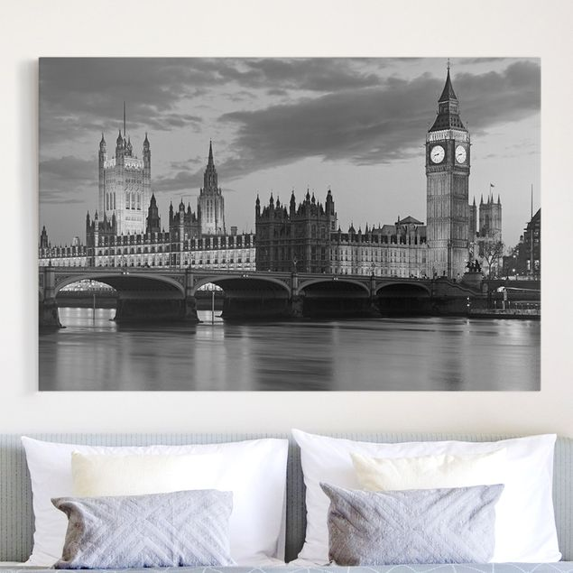 Leinwandbild Schwarz-Weiß - London bei Nacht II - Quer 3:2